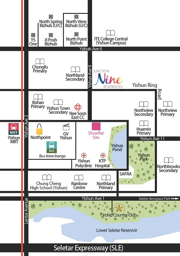 Nine Residences and Junction 9 Location Map